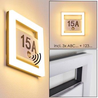 Numéro d'adresse éclairé Louisville LED Gris, 1 lumière, Détecteur de mouvement