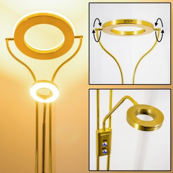 Lampadaire à vasque Donna LED Laiton, 2 lumières