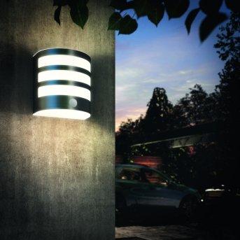 Applique murale d'extérieur Philips Calgary LED Acier inoxydable, 1 lumière, Détecteur de mouvement
