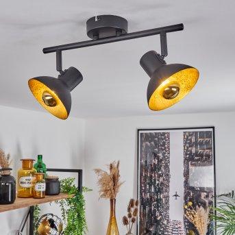 Spot de plafond Neiden Noir doré, 2 lumières