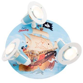 Plafonnier rond Elobra SEE Bleu, 3 lumières