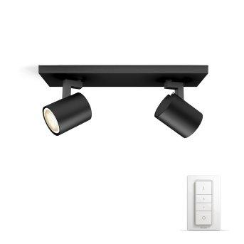 Spot de plafond, kit de base Philips Hue Ambiance White Runner Noir, 2 lumières, Télécommandes