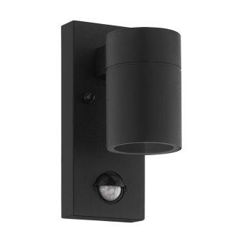 Applique murale d'extérieur Eglo RIGA LED Noir, 1 lumière, Détecteur de mouvement