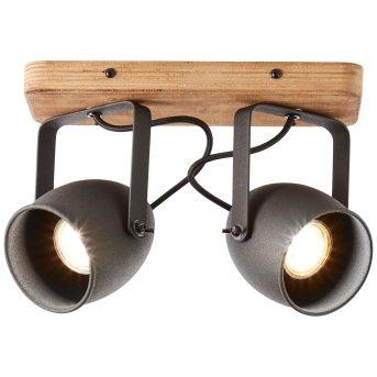 Plafonnier Brilliant CROWTON Noir, Bois foncé, 2 lumières