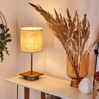 Lampe de table Shiburg Argenté, Bois foncé, 1 lumière