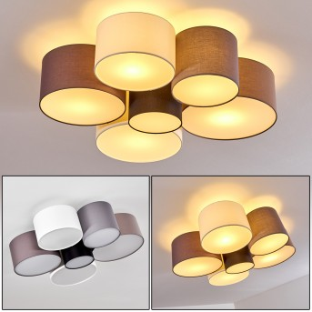 Plafonnier Payette Noir, Gris, Brun, Blanc, 6 lumières