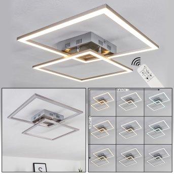 Plafonnier Thara LED Nickel mat, 2 lumières, Télécommandes