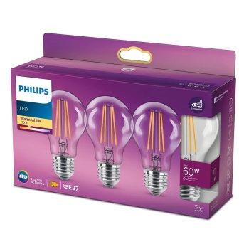 LED E27 3er Pack 60 Watt 2700 Kelvin 806 Lumen Philips