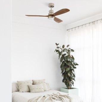Ventilateur de plafond Faro Barcelona Lantau LED Nickel mat, 1 lumière, Télécommandes