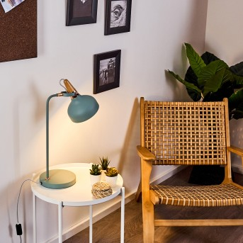 Lampe de table Breamo Vert, Bois foncé, 1 lumière