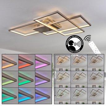 Plafonnier Momahaki LED Chrome, 1 lumière, Télécommandes