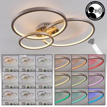 Plafonnier Moemoto LED Nickel mat, 1 lumière, Télécommandes