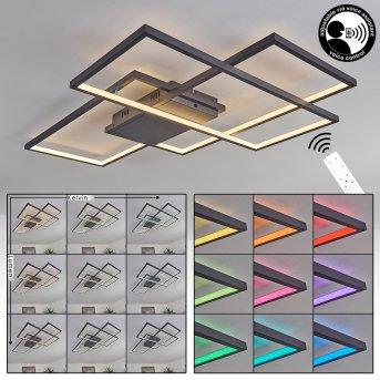 Plafonnier Momahaki LED Anthracite, 1 lumière, Télécommandes