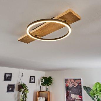 Plafonnier Pompu LED Noir, Bois clair, 1 lumière
