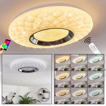 Plafonnier Roseto LED Chrome, Blanc, Transparent, 1 lumière, Télécommandes