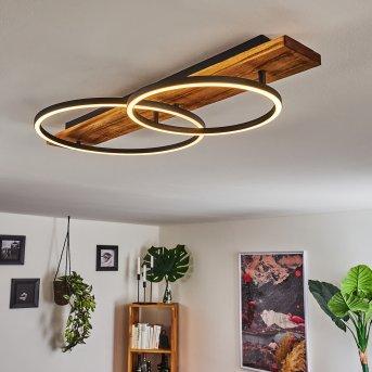 Plafonnier Pompu LED Noir, Bois foncé, 2 lumières