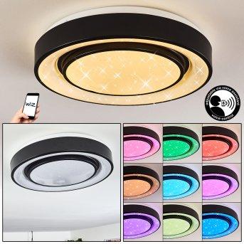 Plafonnier Grimacco LED Noir, 1 lumière, Changeur de couleurs