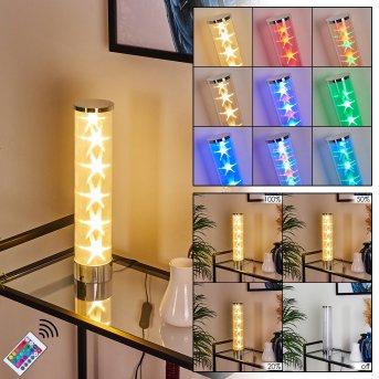 Lampe de table Hatara LED Chrome, 1 lumière, Télécommandes, Changeur de couleurs