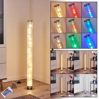 Lampadaire Hatara LED Chrome, 1 lumière, Télécommandes, Changeur de couleurs
