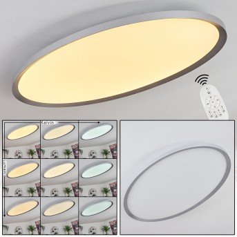 Panneau LED Kombito Argenté, Blanc, 1 lumière, Télécommandes