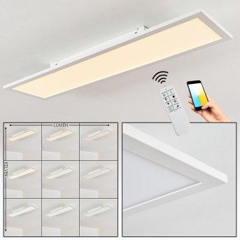 Plafonnier Salmi LED Blanc, 1 lumière, Télécommandes