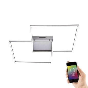 Plafonnier Paul Neuhaus Q-Inigo LED Acier inoxydable, 2 lumières, Télécommandes