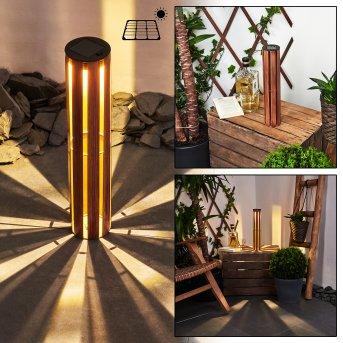 lampe solaire Hankinson LED Noir, Cuivre, Bois foncé, 1 lumière