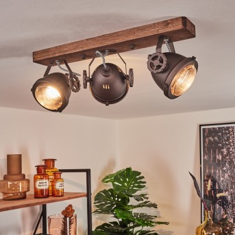 Plafonnier Herford Brun, Bois foncé, 3 lumières