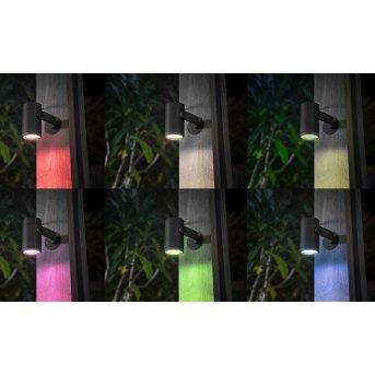 Spot, set de 3 de base Philips Hue Ambiance White & Color WACA Lily LED Noir, 1 lumière, Changeur de couleurs