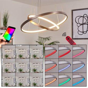 Suspension Canisteo LED Argenté, 2 lumières, Télécommandes, Changeur de couleurs