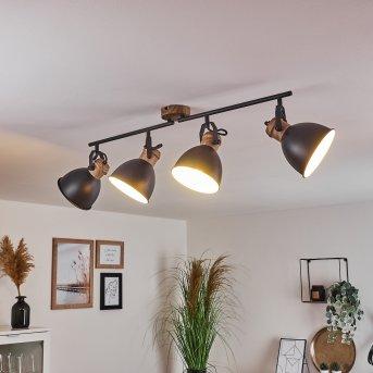 Plafonnier Banjul Noir, Brun, 4 lumières