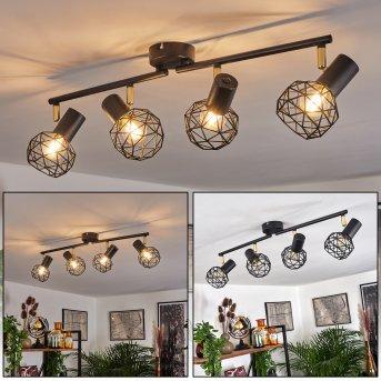 Plafonnier Palmira Noir, Or, 4 lumières