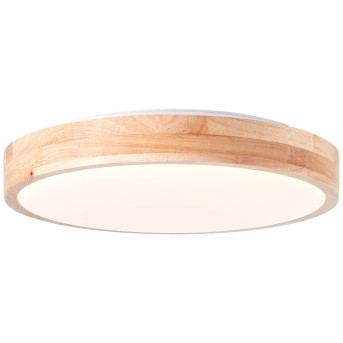 Plafonnier Brilliant Slimline LED Blanc, Bois clair, 1 lumière