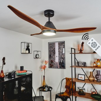 Ventilateur de plafond Follseland LED Noir, Brun foncé, Couleur bois, 1 lumière, Télécommandes