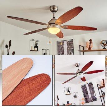 Ventilateur de plafond Gyllan Nickel mat, 1 lumière