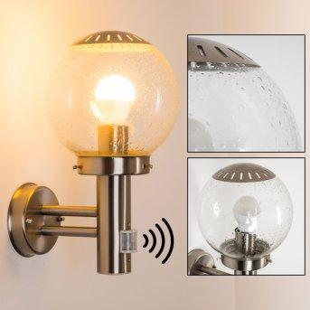 Lampe d'extérieur Globo BOWLE II Acier inoxydable, Transparent, 1 lumière, Détecteur de mouvement