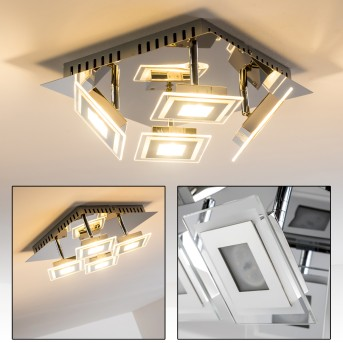 Plafonnier LED CERRETO Chrome, 4 lumières