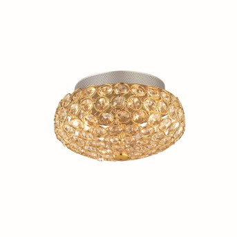 Plafonnier Ideal Lux KING Or, Aspect cristal, 3 lumières