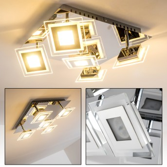 Plafonnier LED CERRETO Chrome, 5 lumières