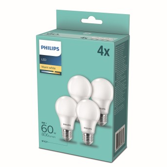 LED set de 4 x E27 9 Watt 2700 Kelvin 806 Lumen Philips