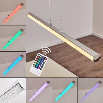 Suspension Flaut LED Chrome, 1 lumière, Télécommandes, Changeur de couleurs