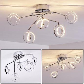 Plafonnier Ogoki LED Chrome, 5 lumières