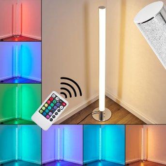 Lampadaire Flaut LED Chrome, 1 lumière, Télécommandes, Changeur de couleurs