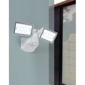 Applique murale d'extérieur Lutec PERI LED Blanc, 2 lumières, Détecteur de mouvement