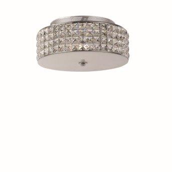 Plafonnier Ideal Lux ROMA Chrome, Aspect cristal, 4 lumières