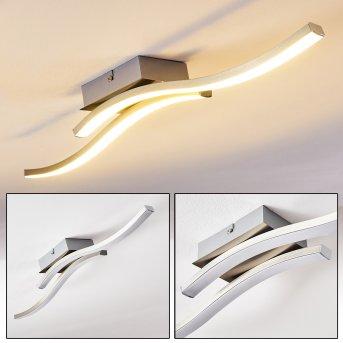 Plafonnier Letala LED Nickel mat, Chrome, 2 lumières