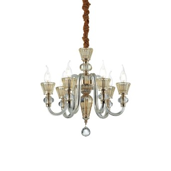 Lustre Ideal Lux STRAUSS Or, 6 lumières