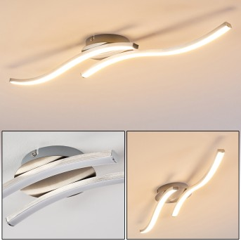Plafonnier Nendaz LED Nickel mat, 2 lumières