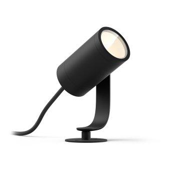 Spot, set d'extension Philips Hue Ambiance White & Color WACA Lily LED Noir, 1 lumière, Changeur de couleurs