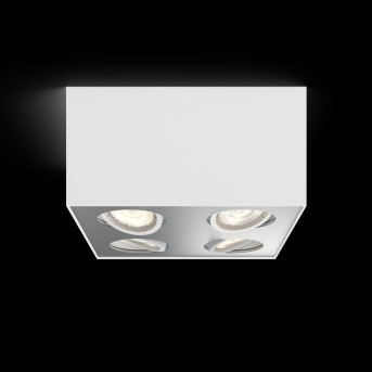 Plafonnier Philips Box LED Blanc, 4 lumières
